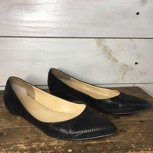 Ivanka Trump | Black Leather Pointed Toe Flats
